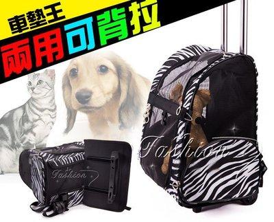 【車墊王】雙用可背可拉可摺疊『寵物雙輪雙拉杆箱】寵物摺疊包/貓狗外出提籠/寵物背包(S/M)加購避光墊省更多