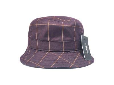 【ScrewCap】STUSSY WINDOW PANE BUCKET HAT BURGUNDY