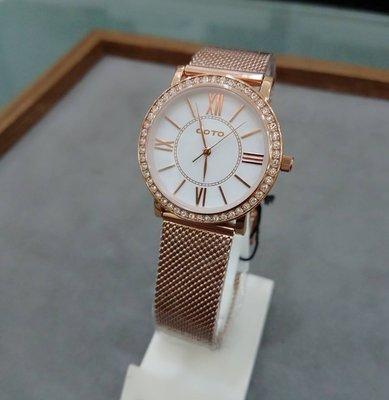 GOTO 簡約玫瑰金殼白面鑽框 防刮鏡面 米蘭錶帶 GM0058L-44-241 原廠公司貨 保固一年 /32mm