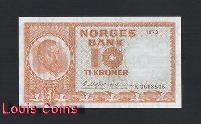 【Louis Coins】B1154-NORWAY-1973挪威紙幣,10 Kroner