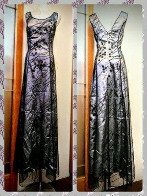 都會名牌~【Foxy lady】銀灰色外罩管珠網紗高雅時尚禮服 ~SE24