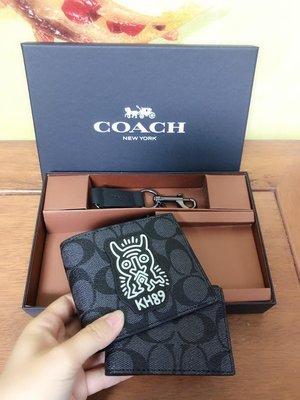 NaNa代購 COACH 68217 男士短夾 禮品盒包裝 貓頭鷹圖案 獨特設計 附購證 買即送禮