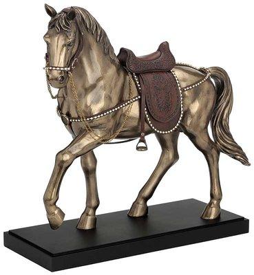 點點蘑菇屋 歐洲精品仿銅雕塑駿馬擺飾 精緻古典藝術雕塑 皮革馬鞍 動物擺飾 禮品 現貨 免運費