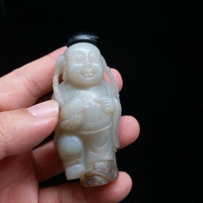 【黛玉珍藏】清 天然老和闐玉 青白玉『漁翁得利』鼻煙壺