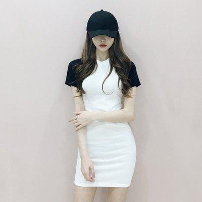 限時早鳥價 拼色圓領連身裙 撞色休閒運動風短袖洋裝 艾爾莎【TAE8257】