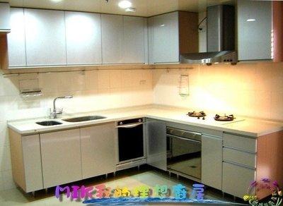【MIK廚具 直營】高貴無法檔㊣炫銀L型歐化廚具580cm杜邦石檯面義大利smeg烤箱