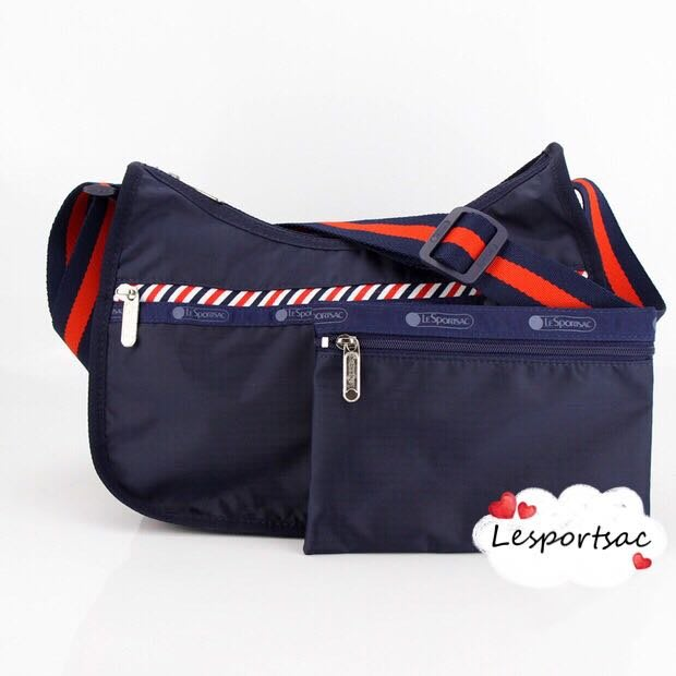 Lesportsac 海軍深藍 側肩背/斜背/手拿 降落傘防水包 附同款收納包 7520 限量