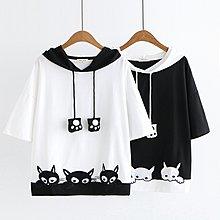 【47800】圓領  日系森女系三隻貓刺繡連帽短袖上衣。☆*藍荳荳小舖*☆(現貨)