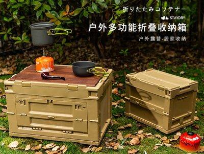戶外野炊露營野餐收納折疊箱多功能車載塑料可側開儲物箱