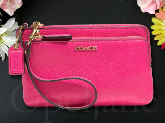Coach 51420 桃紅色粉紅色荔枝紋真皮手拿包手腕包雙拉鍊內有卡片夾層可放IPHONE 5 6 7愛Coach包包