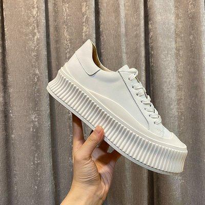 『真皮世家』2020秋季新款ins百搭厚底松糕單鞋休閒運動鞋增高滑板鞋小白鞋