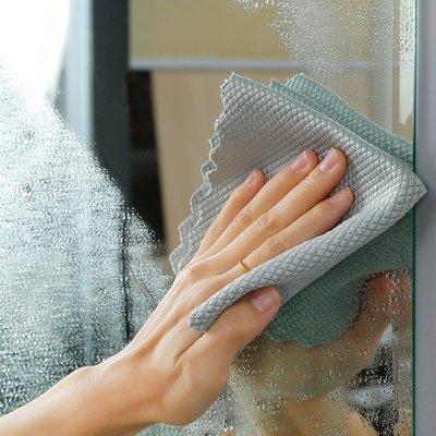 【生活小幫廚】擦玻璃專用魚鱗抹布不留痕不掉毛家務清潔抹布廚房神器家用百潔布