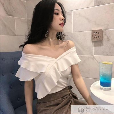 T恤女夏季韓版一字露肩花邊短款背心荷葉袖修身顯瘦上衣 韓幕精品
