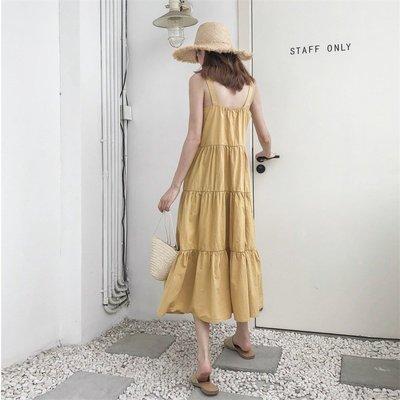 韓版女裝!無袖蛋糕裙連衣裙 單排扣女夏裝新款韓版中長款裙子W2061