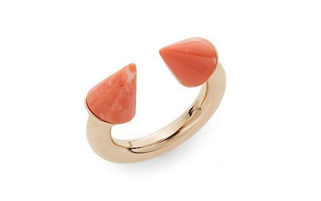 *Cali Style*全新正品[Vita Fede]Titan malachite 珊瑚石時尚雙釘戒指
