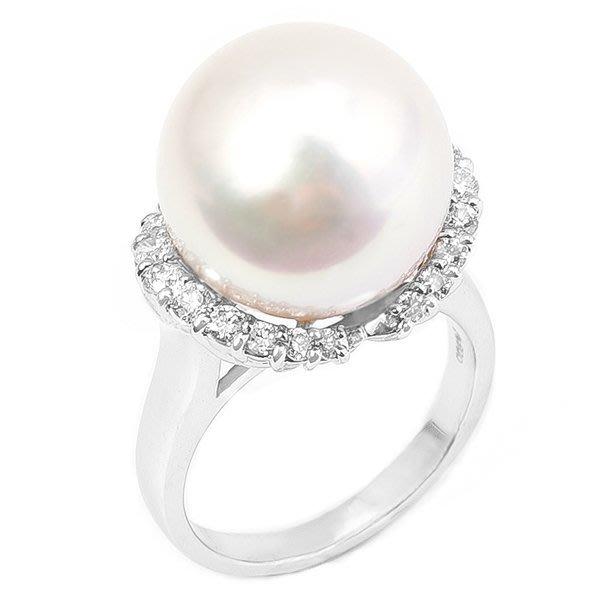 【JHT 金宏總珠寶/GIA鑽石專賣】12mm天然珍珠鑽石戒指/材質:14K(PP00017)