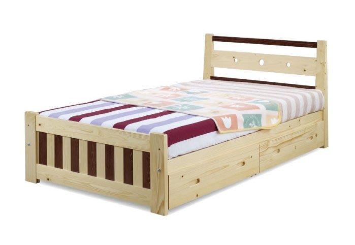 【DH】貨號B51-1名稱《日妮》3.5尺松木單人床架(圖一)含雙抽.四分板床底.備有5尺.實木板可選.主要地區免運費