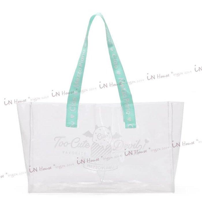 IN House* 現貨 PVC Tote 透明 亮粉 防水袋 游泳 戲水 海灘包 單肩包側背包 托特包 手提袋