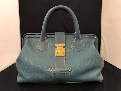 【RECOVER 名品二手】LOUIS VUITTON 藍色山羊皮金扣手提包  .100%真品
