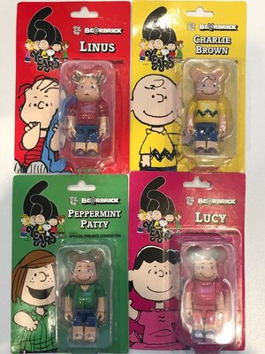 100% Bearbrick Peanuts 60 Years Lucy Charlie Linus Patty
