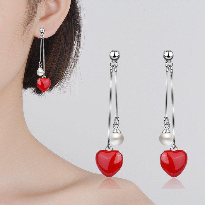 日韓時尚不對櫬女用925纯銀防過敏珍珠耳環女防過敏生日禮物情人節禮物