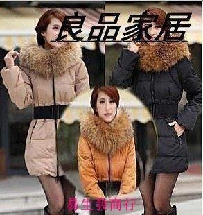 【易生發商行】實拍 羽絨服 中長款女 顯瘦加厚保暖外套送毛領腰帶毛領 羽絨服F6541