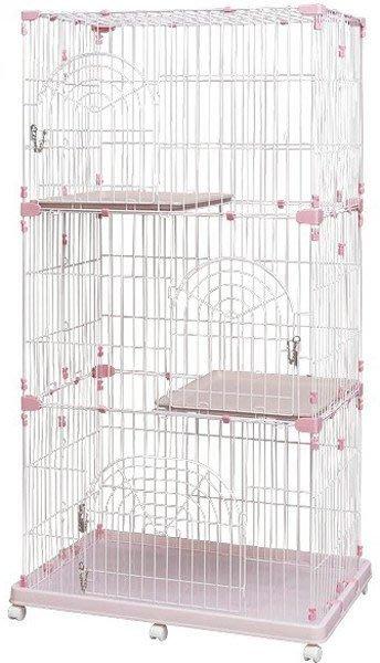 COCO《免運》日本IRIS三層貓籠PEC-903金屬材質附輪組~新款粉紅色//藍色可選