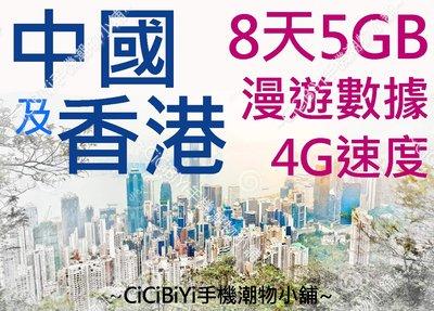 [CiCiBiYi 全球網卡小舖] 亞洲數據卡 8天 5GB 高速4G/3G 中國 香港