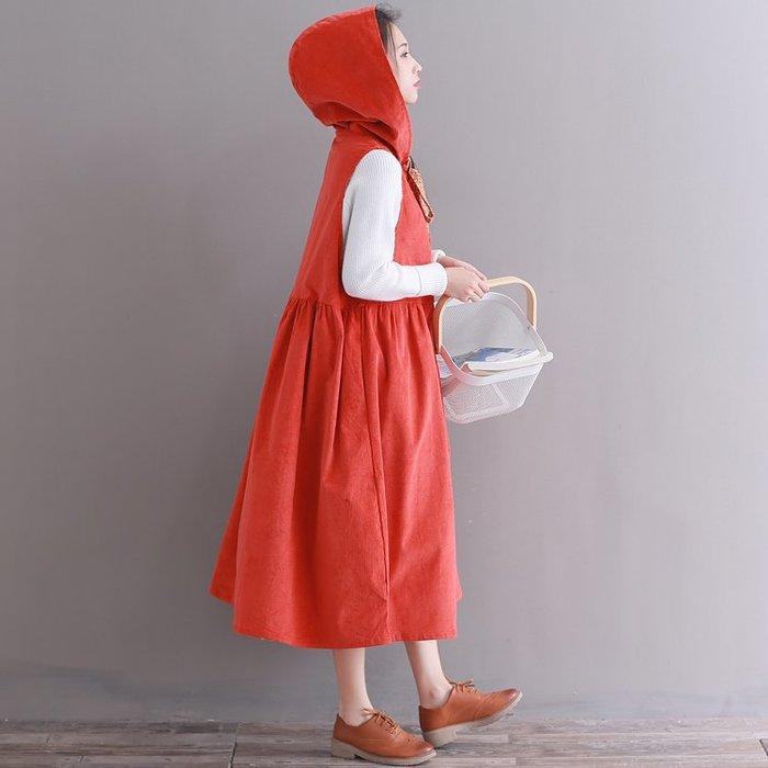 復古 連身裙 甜美 印花 長袖洋裝 實拍秋裝文藝復古橘色燈芯絨連衣裙中長款