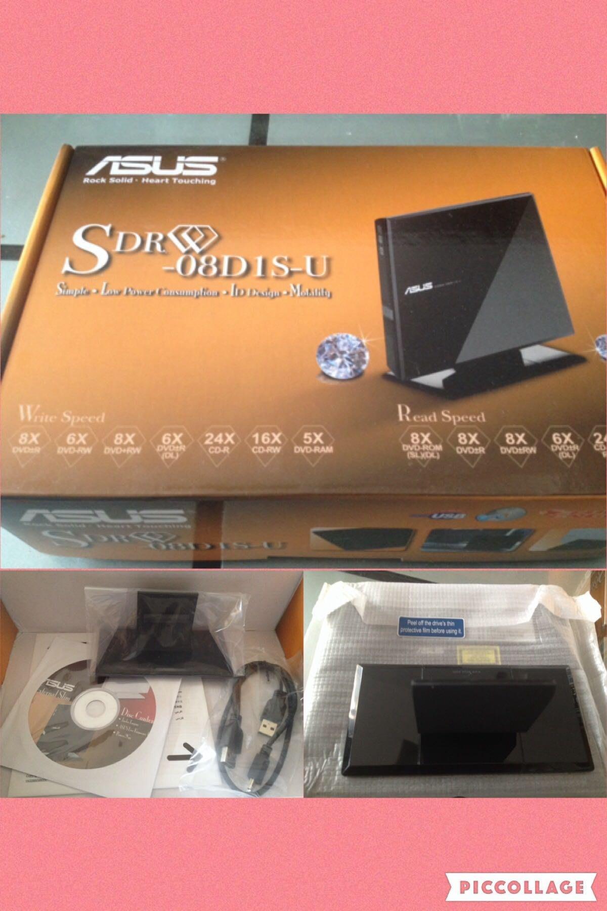 華碩 SDRW-08D1S-U 時尚、專業、精緻、可攜式DVD燒錄方案