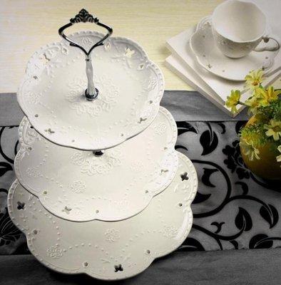哆啦本鋪 陶瓷水果盤歐式三層點心盤蛋糕盤多層糕點盤客廳創意糖果托盤架子 D655