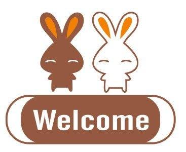 小妮子的家@可愛小兔歡迎壁貼/牆貼/玻璃貼/ 磁磚貼/汽車貼/家具貼/冰箱貼