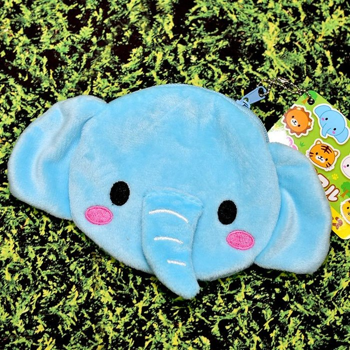 小象 可愛 零錢包 絨質 日本正版