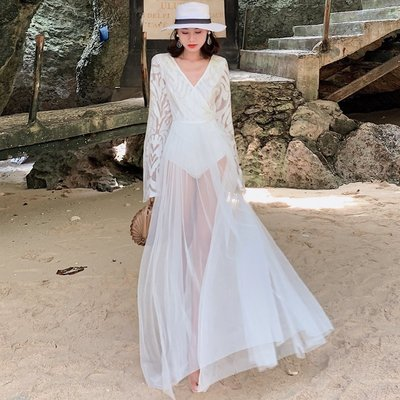 【Strawberry】馬爾代夫巴厘島沙灘裙超仙海邊度假網紗飄逸性感網紅顯瘦連衣裙女
