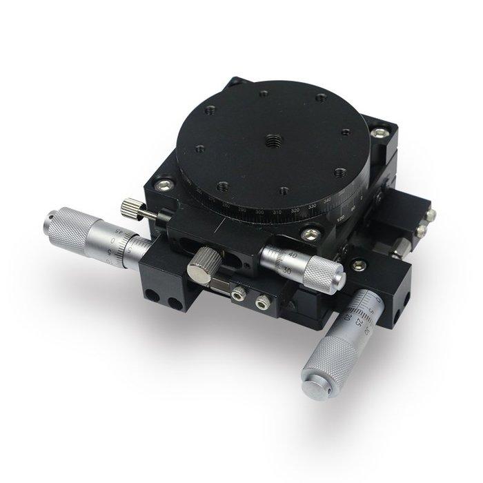 三軸(X +Y+ Rotation) Jettech微動平台 精度10um XY衝程6.5mm 可轉360度微調正負5度