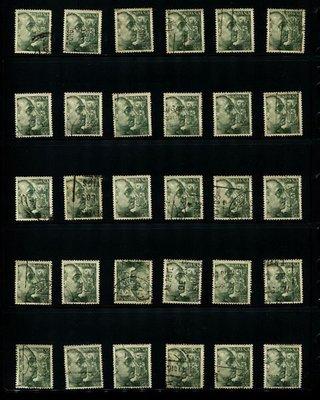 西班牙 (SPAIN) 1938年 40及50 CENTS 舊票60張 (史考特編號A166) 【B2623】
