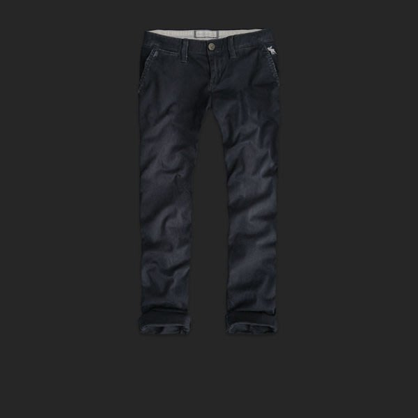 Abercrombie & Fitch_A&F_女裝_ADDISON 經典反折休閒七分褲/長褲 深藍現貨6號