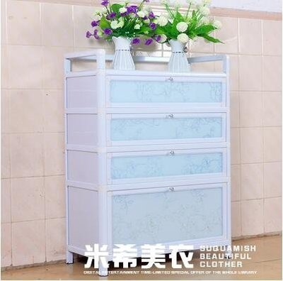 簡約鋁合金鞋櫃鋼化玻璃陽台防曬防水簡易加厚組裝室外走廊經濟型XDY