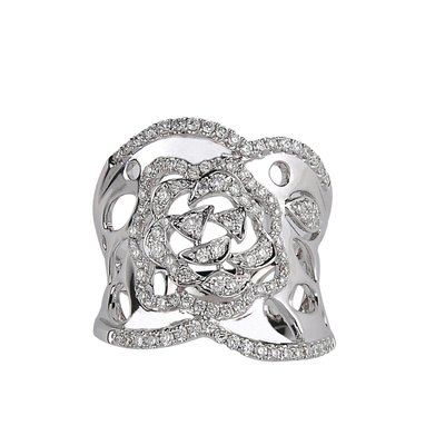 【JHT金宏總珠寶/GIA鑽石專賣】 鏤空花寬版鑽石戒指/材質:18K(JB50-A01)