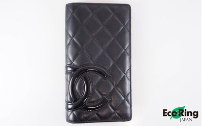 [Eco Ring]*Chanel Long Wallet Cambon Leather Black 14135498*RankB -197020848-