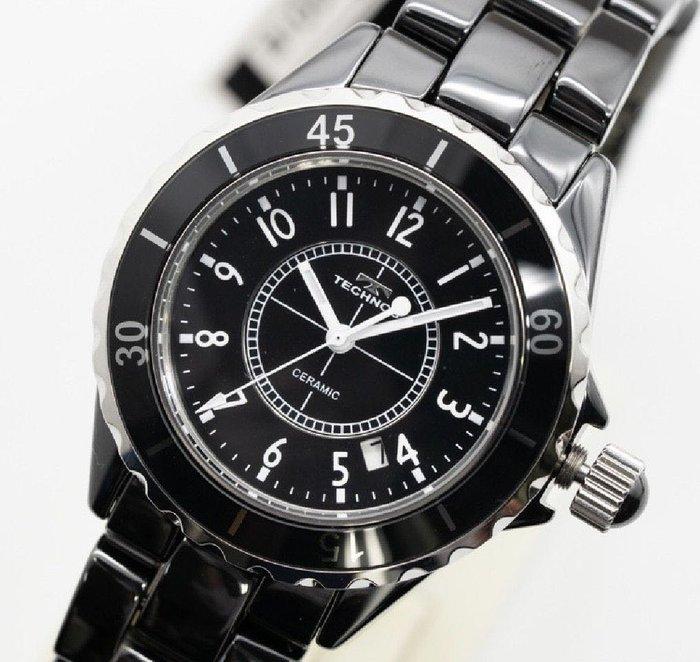 全新 瑞士TECHNOS T9697TB  黑色陶瓷石英錶 J12