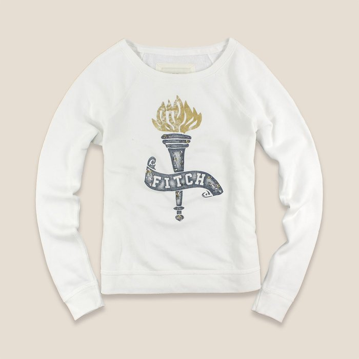 美國百分百【Abercrombie & Fitch】T恤 AF 長袖 T-shirt 長T 大學T 女款 白色 I445