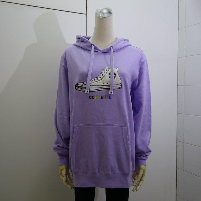 ☆注目の日本CONVERSE 2020秋冬新款粉紫色CONVERSE彩色刺繡連帽長袖棉衫☆