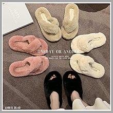 韓風交叉綁帶毛絨絨毛毛拖鞋 居家室內拖鞋 外穿平底拖鞋 防滑耐磨 清新簡約 軟底舒適