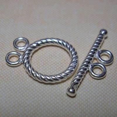 琥珀貓~【925純銀材料配件】OT扣~N9112~雙孔螺旋~一套