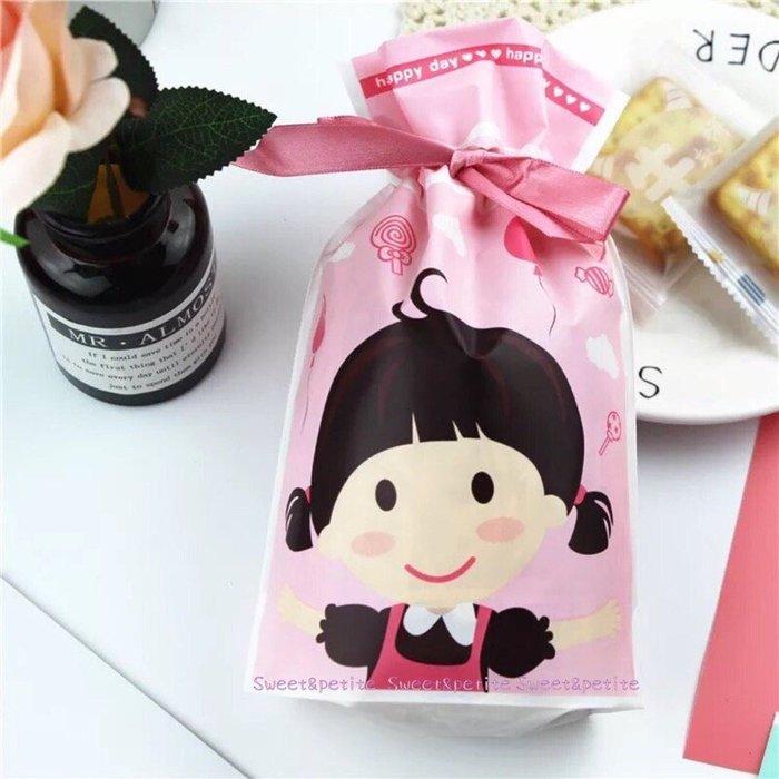 現+預購MA17❤(M)女孩款。蝴蝶結緞帶禮物束口袋❤ 束口繩 禮品袋 塑膠袋 派對糖果餅乾袋 兒童生日派對 禮物袋 彌