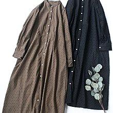 Joyce‧W~*【D2122601】☆☆預購。日系。森系植絨點點刺繡拼接長襯衫式連身裙。2色