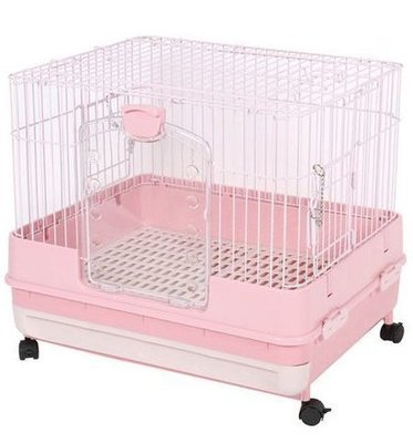 ☆米可多寵物精品☆日本Marukan 改版新款 抽屜式精緻挑高兔籠 粉色MR-995