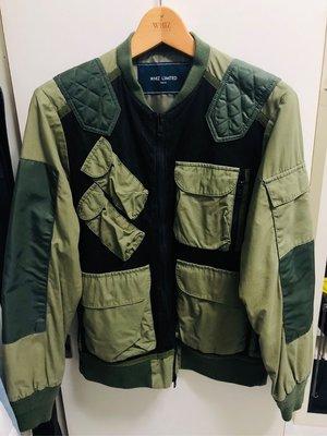 二手~WHIZ LIMITED 下野宏明 軍綠多口袋拼接MA-1飛行外套 L號 ~附衣架