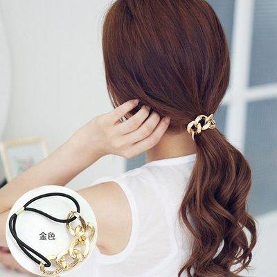 售完~小桃子 韓國版 進口 髮飾 髮束 金色鎖鏈扣環彈性髮圈 現貨當天出